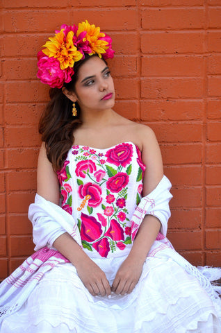 Gorgeous Pink Mexican Embroidered Corset Strapless Frida Khalo Style