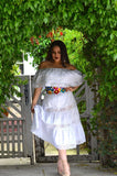 Mexican White weeding Dress with Lace crochet