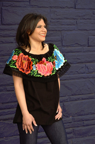 Mexican Off Shoulder Peasant Top Blouse Multicolor Embroidered Gorgeous