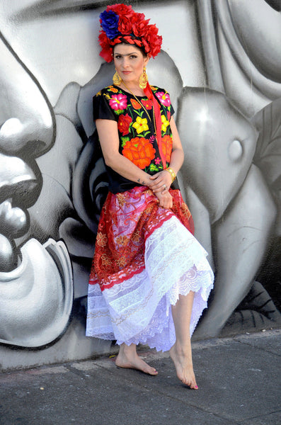 Frida Khalo Outfit hand Embroidered Authentic from Mexico