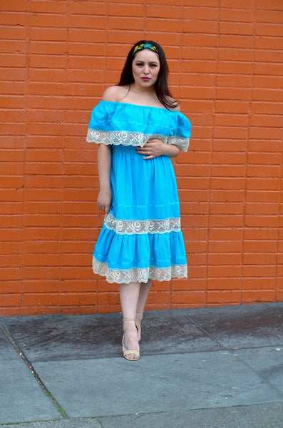 Gorgeous Blue Mexican Off Shoulder Mini Dress w/Crochet Lace Trim