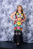Gorgeous Mexican Weeding Outfit Embroidered Strapless Frida Khalo Style