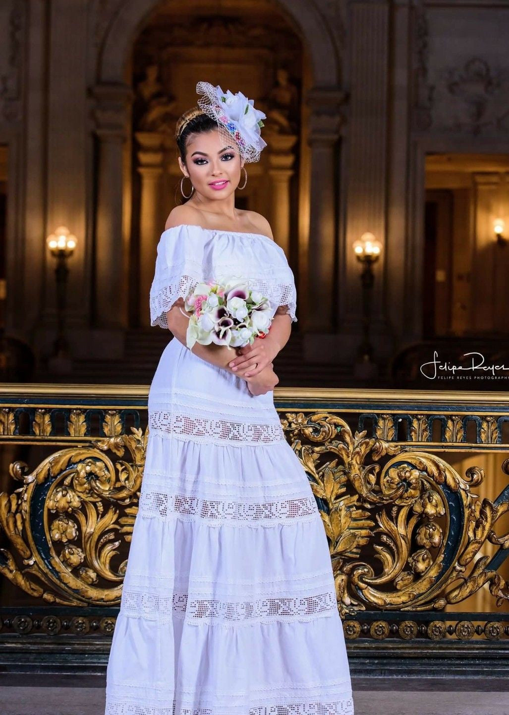 Mexican Wedding Dress.White Off Shoulders Mexican Wedding Dress