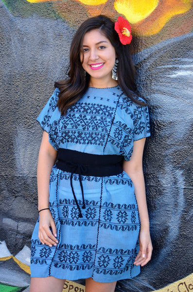 Mexican handwoven cotton super fine huipil tunic blouse Amuzgo Oaxaca Blue