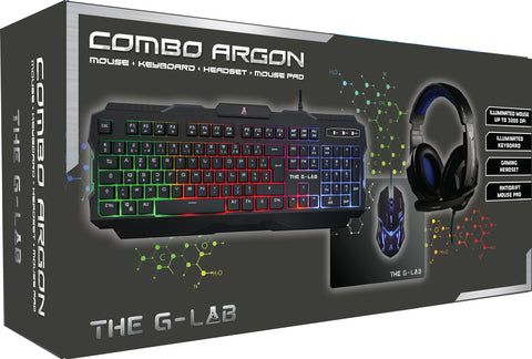 The G-Lab - Combo Argon - Teclado Ratón Cascos Alfombrilla