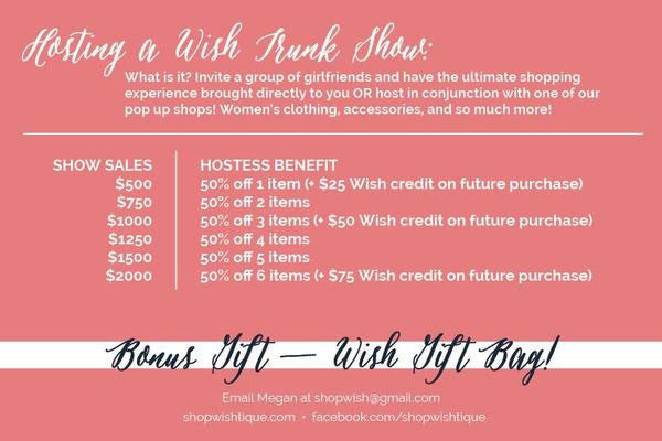 Invite a group of girlfriends and have the ultimate shopping experience brought directly to you OR host in conjunction with one of our pop up shops!