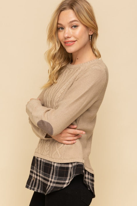 Cable Plaid Sweater