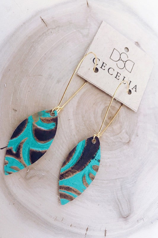Turquoise Drop Leather Earrings