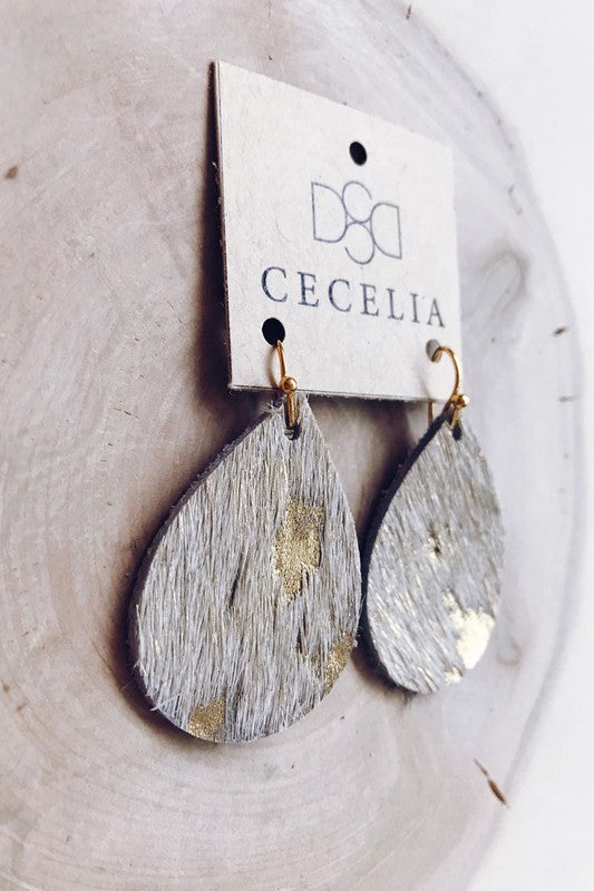 Gold Cow Hide Teardrop Leather Earrings