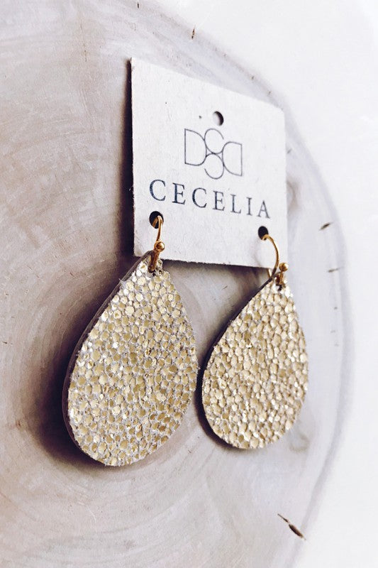 Gold Bubble  Teardrop Leather Earrings