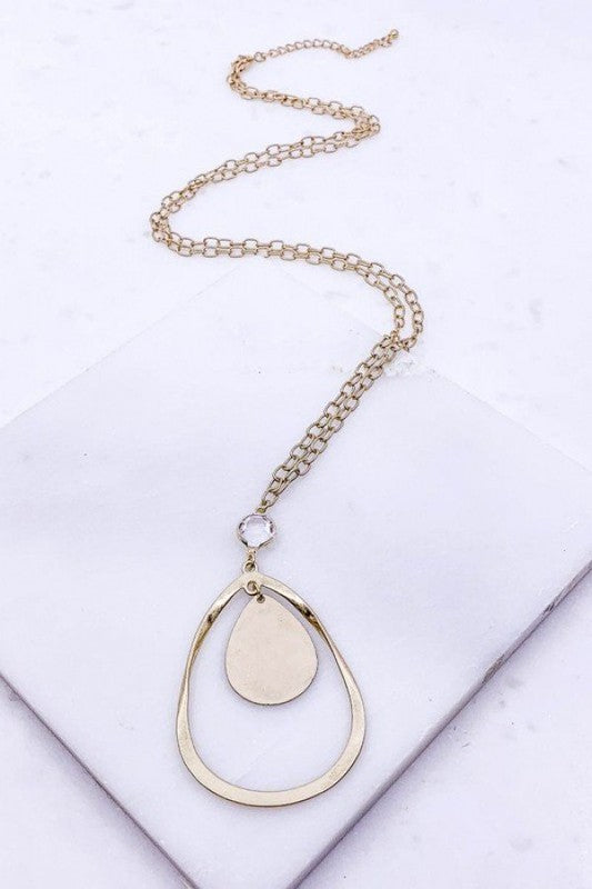 Worn Gold Bezel Necklace