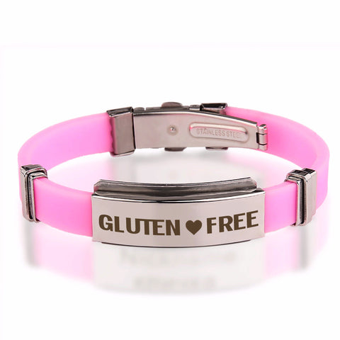 Official GLUTEN ❤ FREE Pink Stainless Steel Bracelets