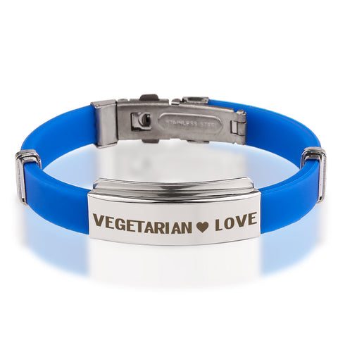 Official VEGETARIAN ❤ LOVE Blue Stainless Steel Bracelets