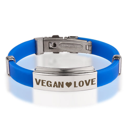 Official VEGAN ❤ LOVE Blue Stainless Steel Bracelets