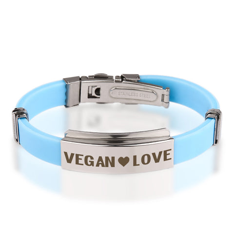 Official VEGAN ❤ LOVE Baby Blue Stainless Steel Bracelets