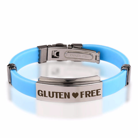 Official GLUTEN ❤  FREE Baby Blue Stainless Steel Bracelets