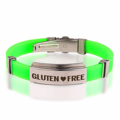 Official GLUTEN ❤ FREE Green Stainless Steel Bracelets