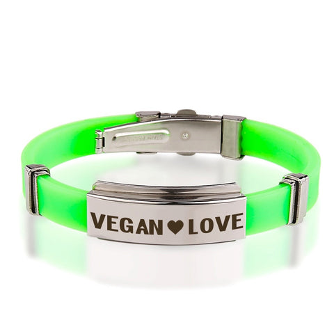 Official VEGAN ❤ LOVE Green Stainless Steel Bracelets