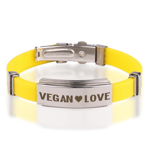 Official VEGAN ❤ LOVE Yellow Stainless Steel Bracelets