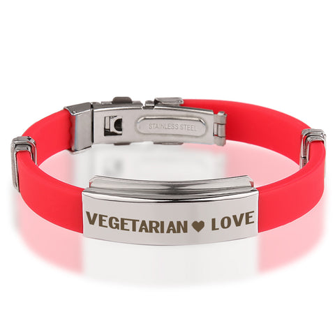 Official VEGETARIAN ❤ LOVE Red Stainless Steel Bracelets