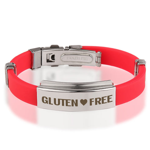 Official GLUTEN ❤ FREE Red Stainless Steel Bracelets
