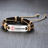 Leather Medical ID Bracelet - Gluten  ❤ Free