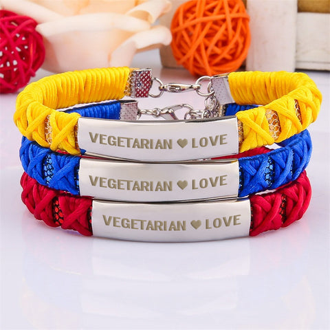 Official VEGETARIAN ❤ LOVE Braided Ribbon Bracelets