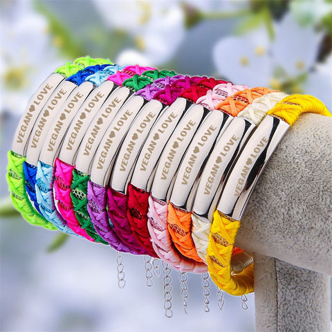 Official VEGAN ❤ LOVE Braided Ribbon Bracelets