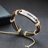 Leather Medical ID Bracelet - Vegan  ❤ Love