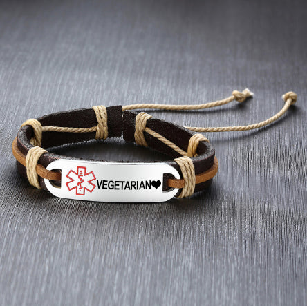 Leather Medical ID Bracelet - Vegetarian  ❤ Love