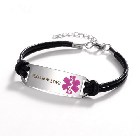 Vegan ❤ Love Medical Leather Bracelet