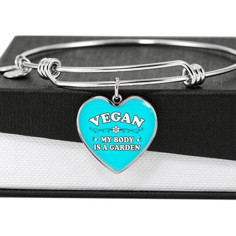 Luxury Vegan Heart Pendant Bracelet