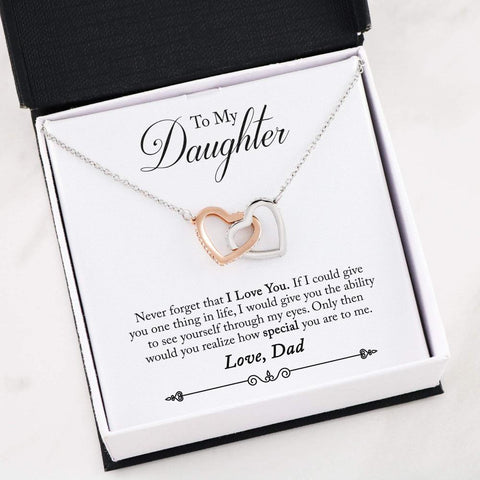 To My Daughter - Interlocking Heart Necklace - From Dad