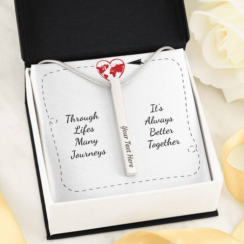 Through Life's Many Journeys - Engraved 4 Sided Vertical Necklace