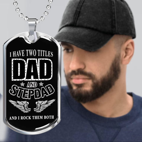 Two titles - dad and stepdad luxury necklace