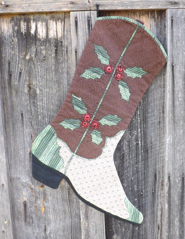 Christmas Stocking Pattern, Holly Boot Stocking Pattern