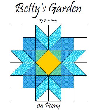 Betty's Garden Pattern 4 - Peony  Pattern - StoryQuilts.com
