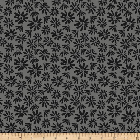 Juniper Daisy Grey  Fabric - StoryQuilts.com