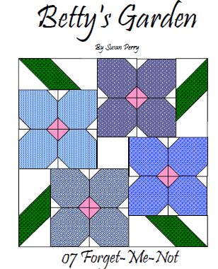 Betty's Garden Pattern 7 - Forget Me Not  Pattern - StoryQuilts.com