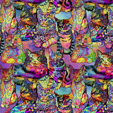 Multi Crazy For Cats Allover  Fabric - StoryQuilts.com