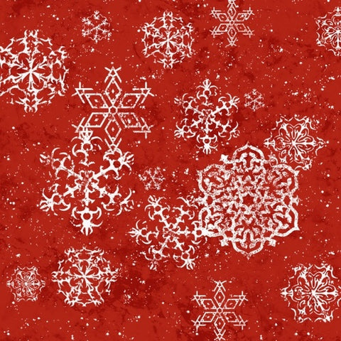 Sheltering Snowman Snowflake Red  Fabric - StoryQuilts.com