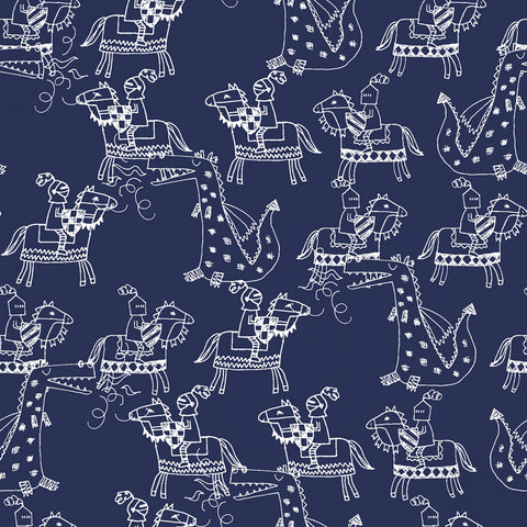 Navy Knights & Dragons  Fabric - StoryQuilts.com