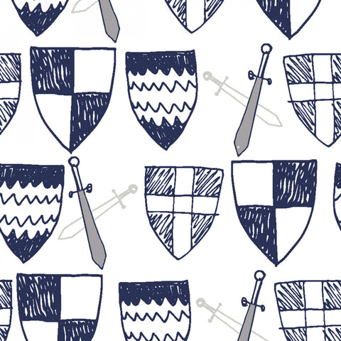 White Swords & Shields  Fabric - StoryQuilts.com