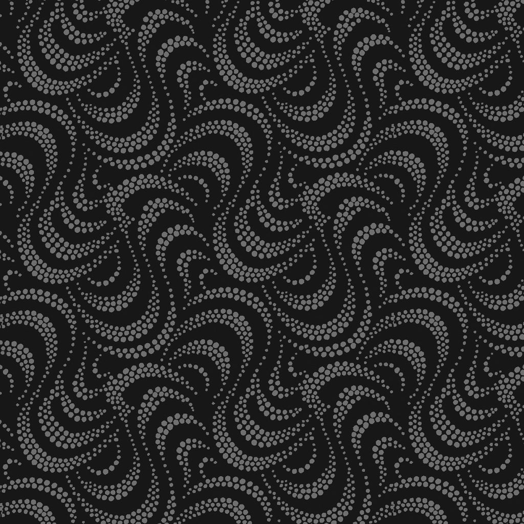 Charcoal Wave  Fabric - StoryQuilts.com
