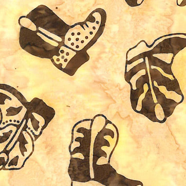 Western Batik Quilt Fabric Buttermilk and Brown Cowboy Boots