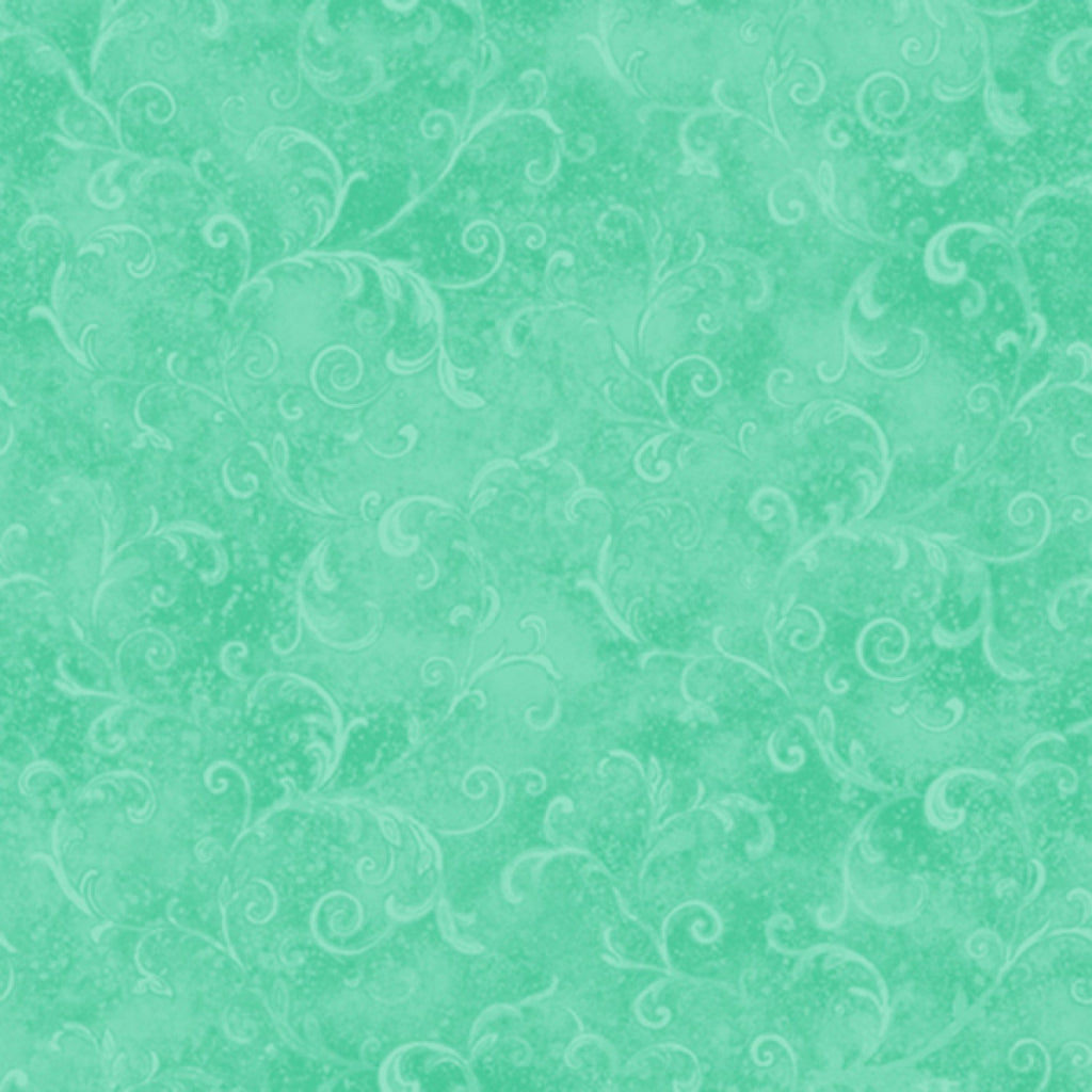 Sea Green Filigree  Fabric - StoryQuilts.com