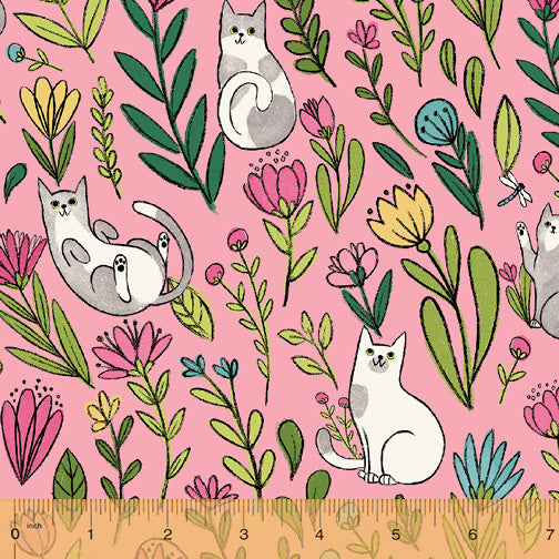 Catnip Pink Flower Cats  Fabric - StoryQuilts.com