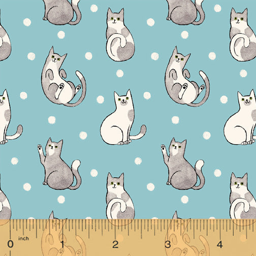 Catnip Aqua Happy Cats  Fabric - StoryQuilts.com