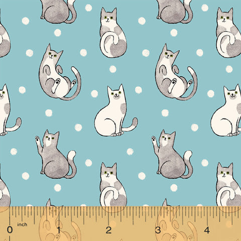 Catnip Aqua Happy Cats - RESERVE*  Fabric - StoryQuilts.com