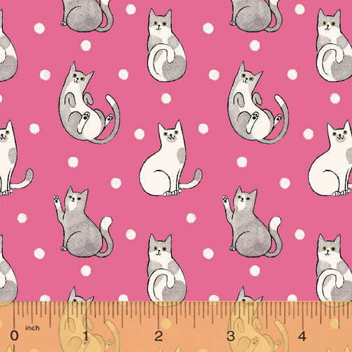 Catnip Fuchsia Happy Cats  Fabric - StoryQuilts.com